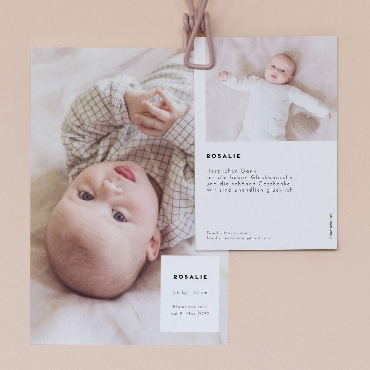 Babykarten lassen sich einfach erstellen und sind eine tolle Idee um sich für Geschenke zu bedanken
